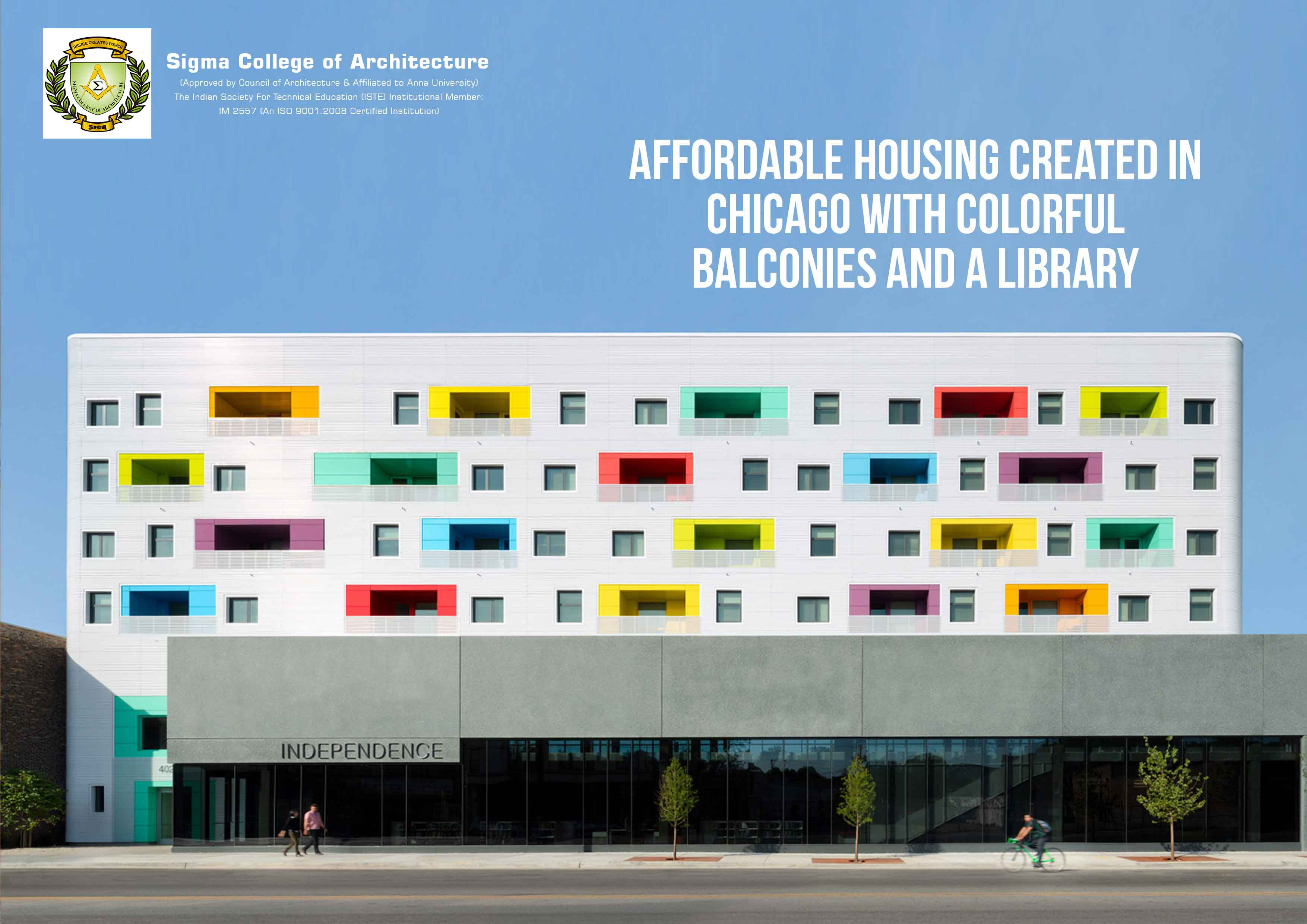Affordable Housing Created In Chicago With Colorful Balconies And A Library