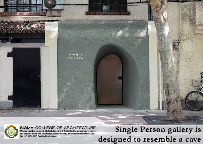 Single Person gallery is designed to resemble a cave