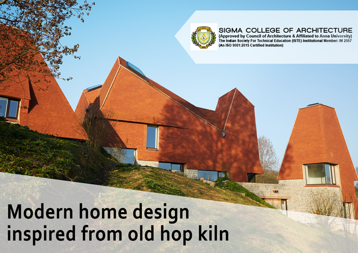 Modern home design inspired from old hop kiln