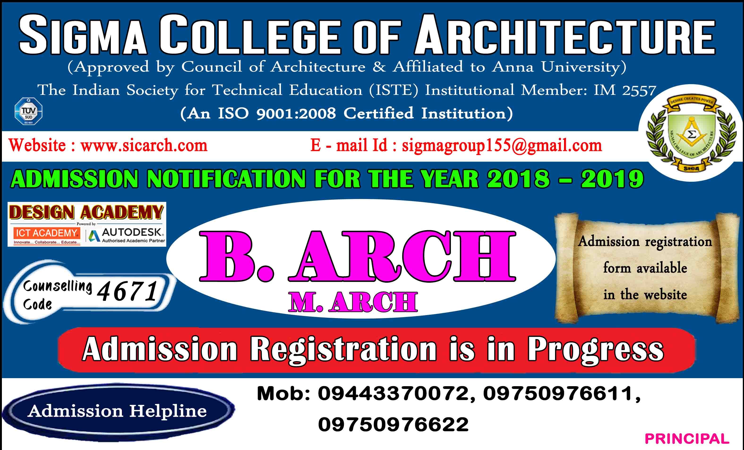 B.Arch & M.Arch Admission 2018 - 19, Counselling Code - 4671