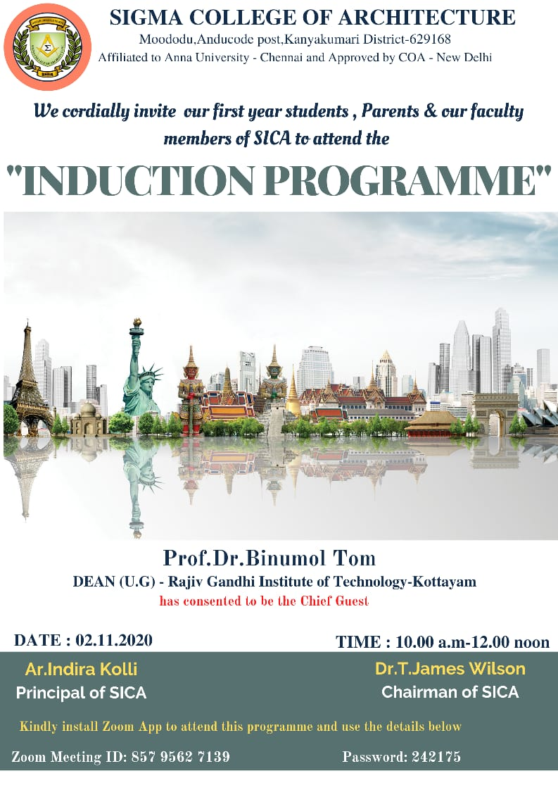 Induction Programme for First Years of Academic Year 2020-2021